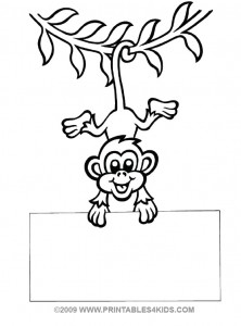 Monkey hanging by its tail coloring sheet