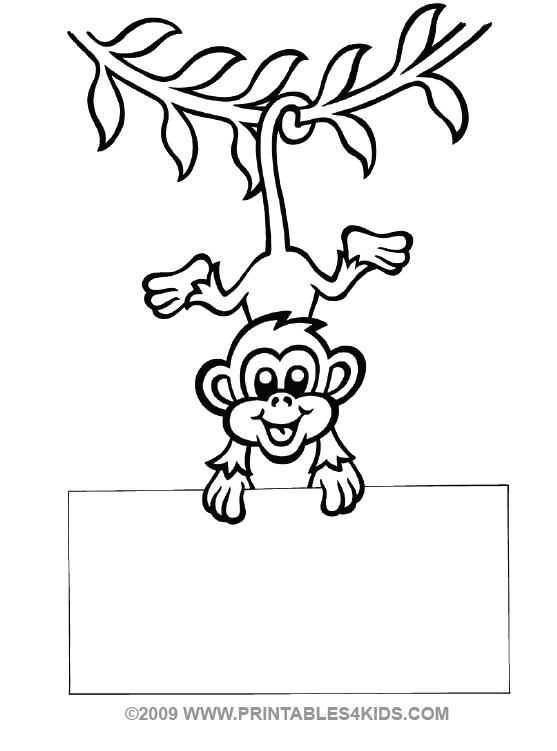 Monkey hanging coloring : Printables for Kids – free word search ...