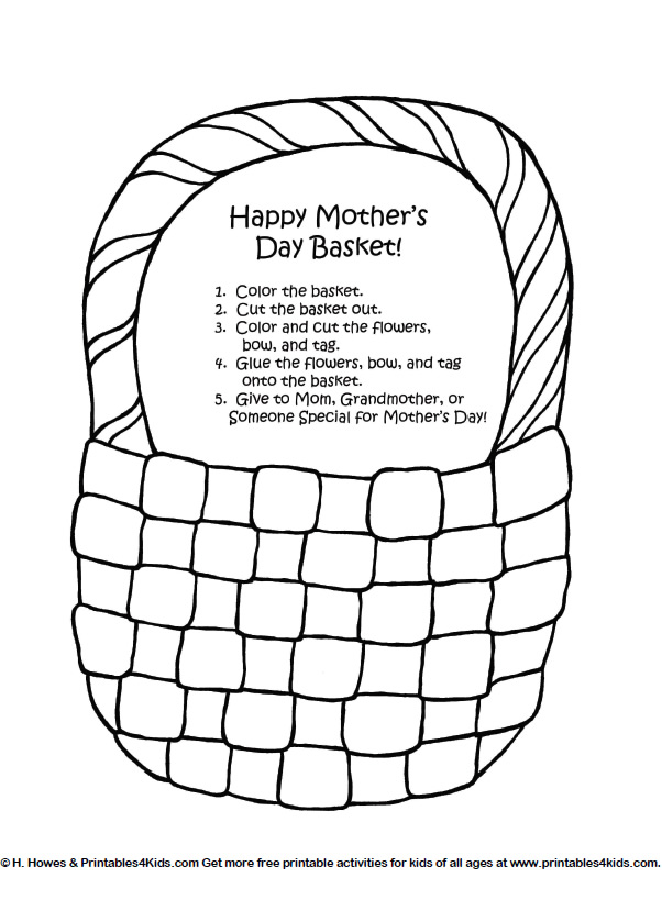 Mothers Day Basket Of Flowers Craft Printables For Kids Free
