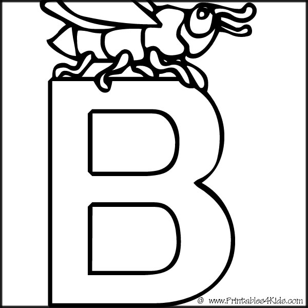 Alphabet Coloring Page Letter B Printables For Kids Free Word Search Puzzles Pages And Other Activities
