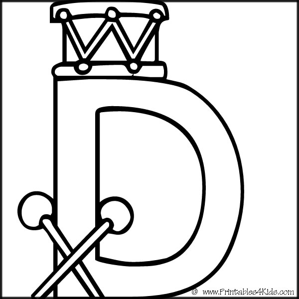 Alphabet Coloring Page Letter D Printables For Kids Free Word Search Puzzles Pages And Other Activities