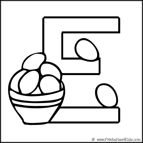 Letter E Coloring Pages For Preschoolers Geography letter e