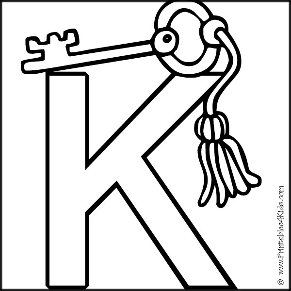 alphabet coloring page letter k key printables for kids free word search puzzles coloring pages and other activities