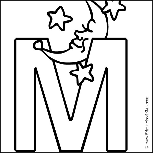 Alphabet Coloring Page Letter M : Printables for Kids – free word ...