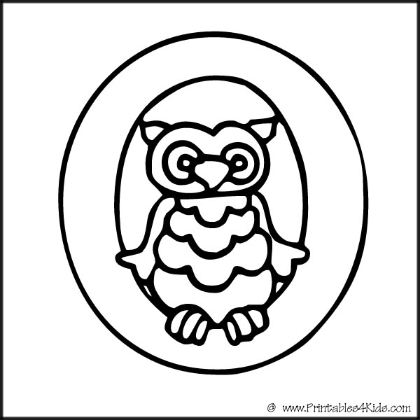 Alphabet Coloring Page Letter O Owl Printables For Kids Free Word Search Puzzles Pages And Other Activities
