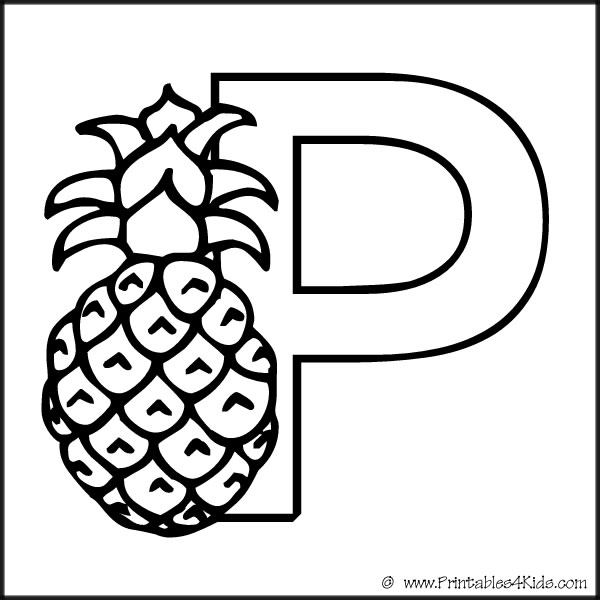 Alphabet Coloring Page Letter P Pineapple Printables For Kids Free Word Search Puzzles Pages And Other Activities