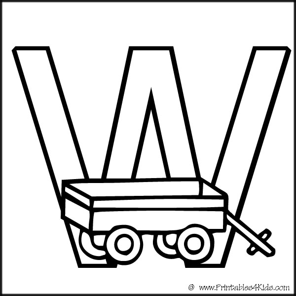 Alphabet Coloring Page Letter W Wagon