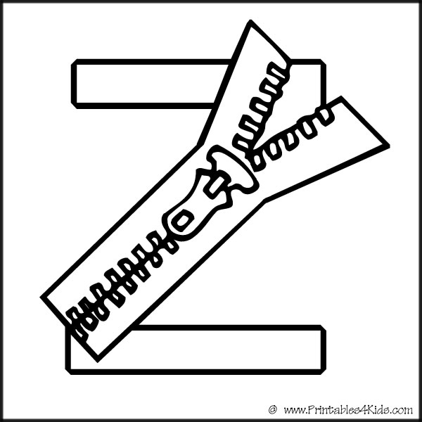 Alphabet Coloring Page Letter Z Zipper : Printables for Kids – free ...