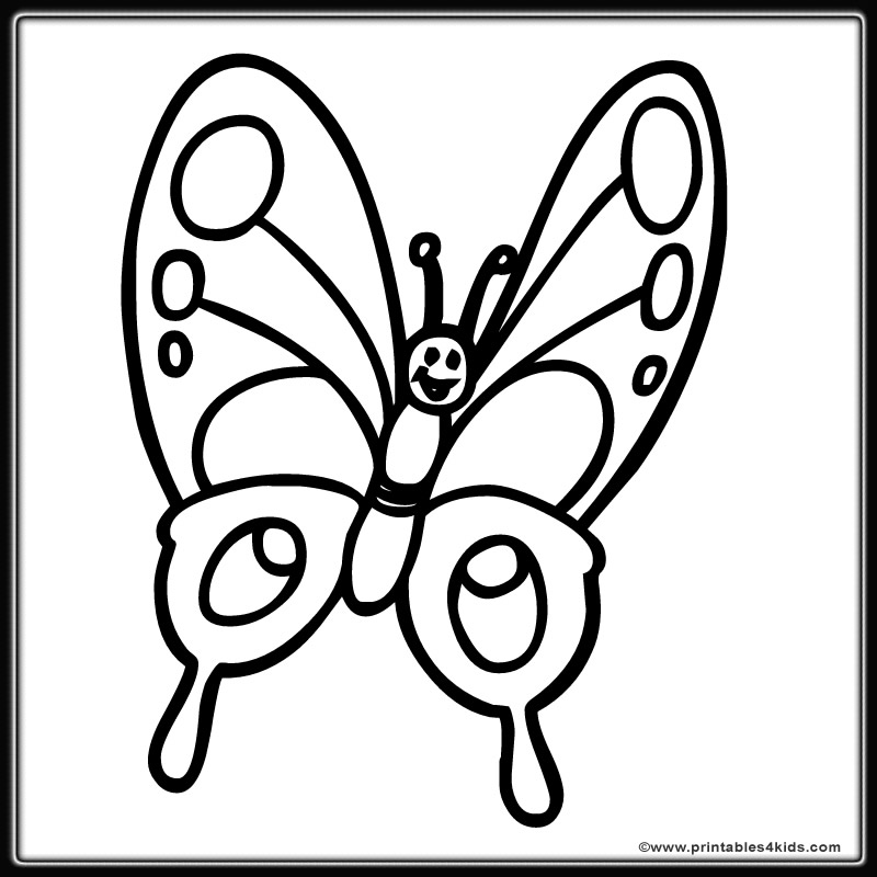 Butterfly Coloring Page 8 : Printables for Kids – free word search ...