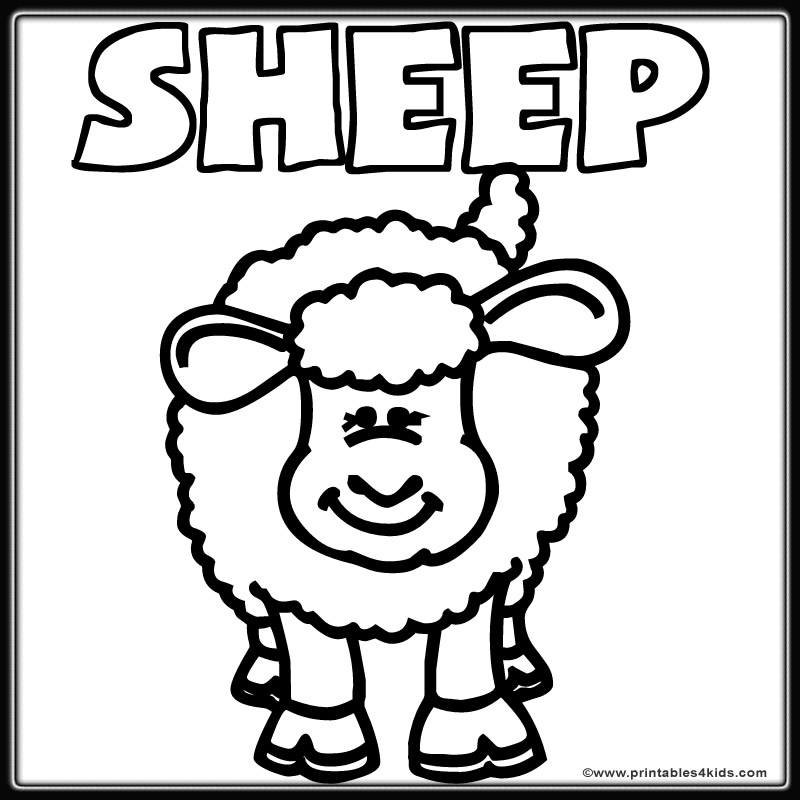 Farm Sheep Lamb Coloring Page Printables for Kids free word