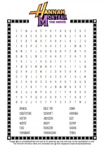 Free Hannah Montana Movie Word Search (printable)