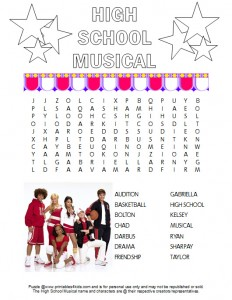 High School Musical Word Search Printable Free