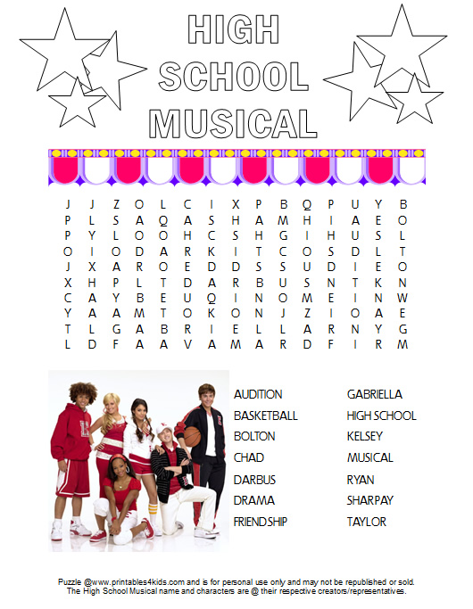 high school musical word search printable free printables for kids free word search puzzles coloring pages and other activities - Kids Free Printables