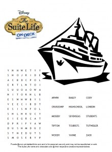 Suite Life on Deck Zack and Cody Word Search