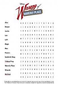 Free Wizards of Waverly Place Word Search