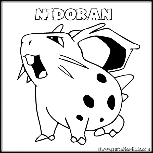 Pokemon Nidoran Coloring Page Printables For Kids Free Word Search Puzzles Pages And Other Activities
