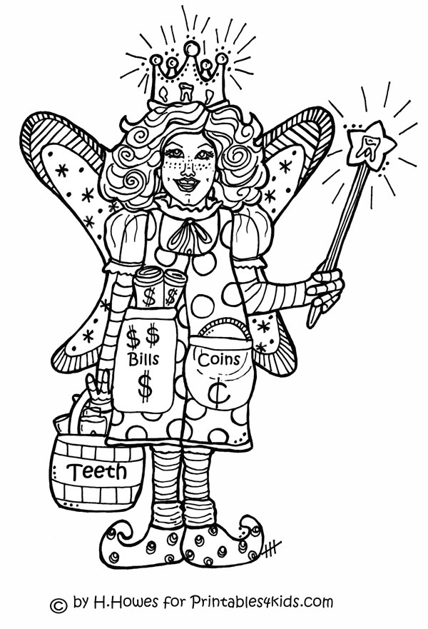 Tooth Fairy Coloring Page Printables for Kids free word search