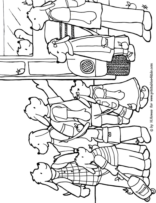 Back To School Coloring Page Dogs Pups Apples Printables For
