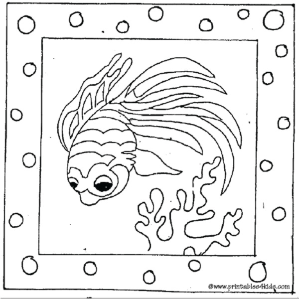 Printable cartoon fish coloring