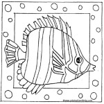 Printable cartoon fish coloring page