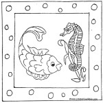 Printable cartoon fish and seahorse coloring page