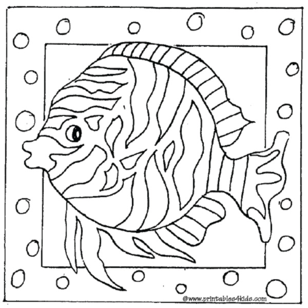 Printable Cartoon Striped Fish Coloring Page Printables For Kids Free Word Search Puzzles Pages And Other Activities