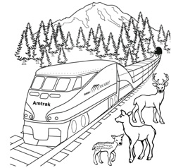 Amtrak Cascades Train Coloring Page and Contest