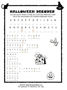 Printables Halloween Printable Worksheets printables4kids free coloring pages word search puzzles and halloween code breaker