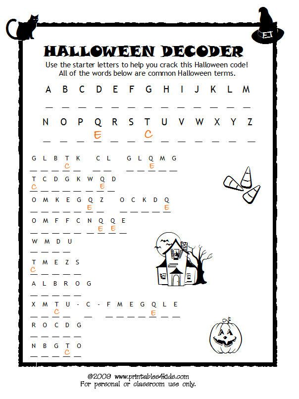 Halloween Code Breaker Cryptoquiz Brain Teaser Printables for – Halloween Fun Worksheets