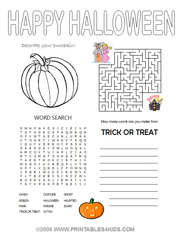 Halloween 4in1 Activity Sheet  coloring maze word search