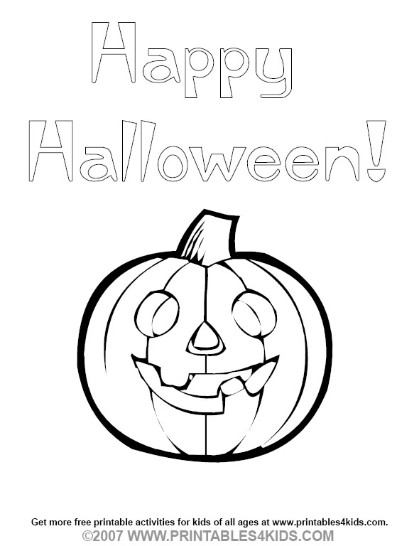 Happy Halloween Coloring Pumpkin  Printables for Kids  free word