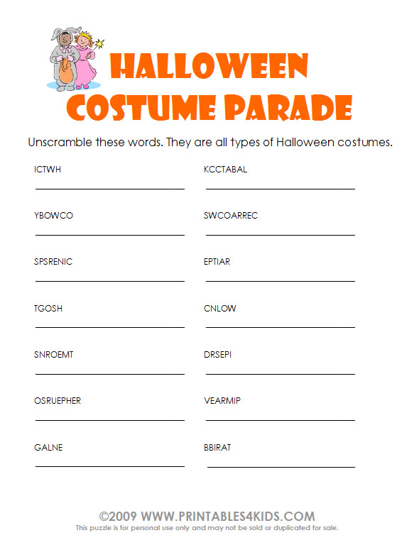 Halloween Coloring Pages And Word Searches : Halloween costume word scramble : printables for kids u2013 free word