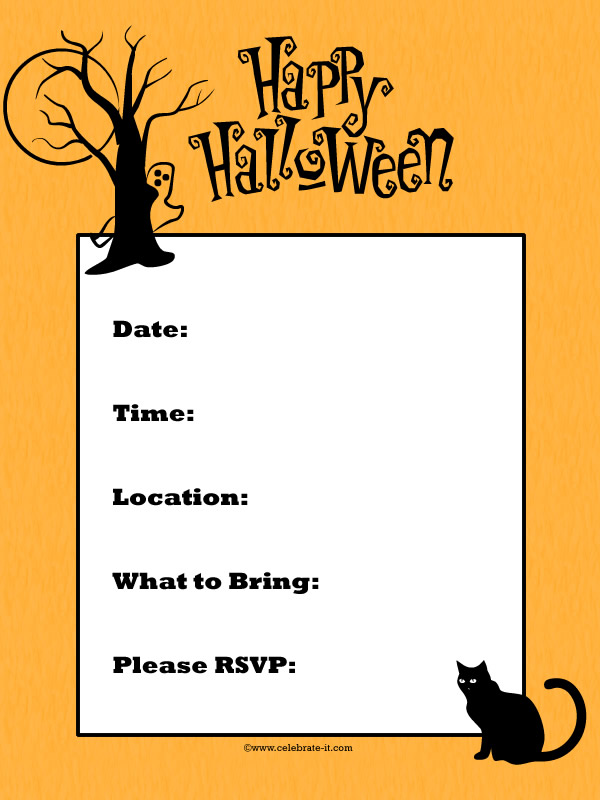 Free halloween party invitation printables for kids free word search puzzles coloring pages for Free halloween invites templates