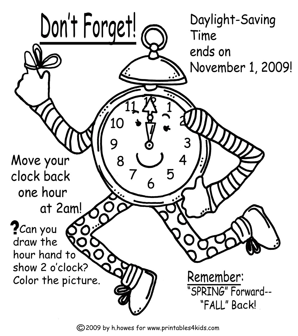 TIME CHANGE Coloring Page for Fall : Printables for Kids – free word ...