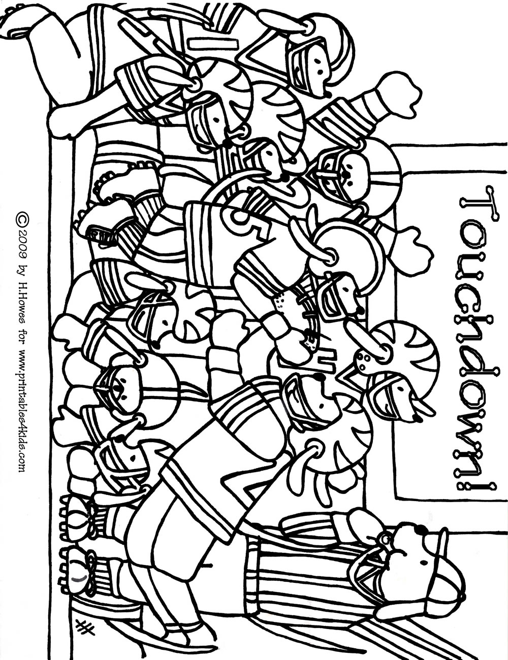 Football Game Coloring Page Printables for Kids free word