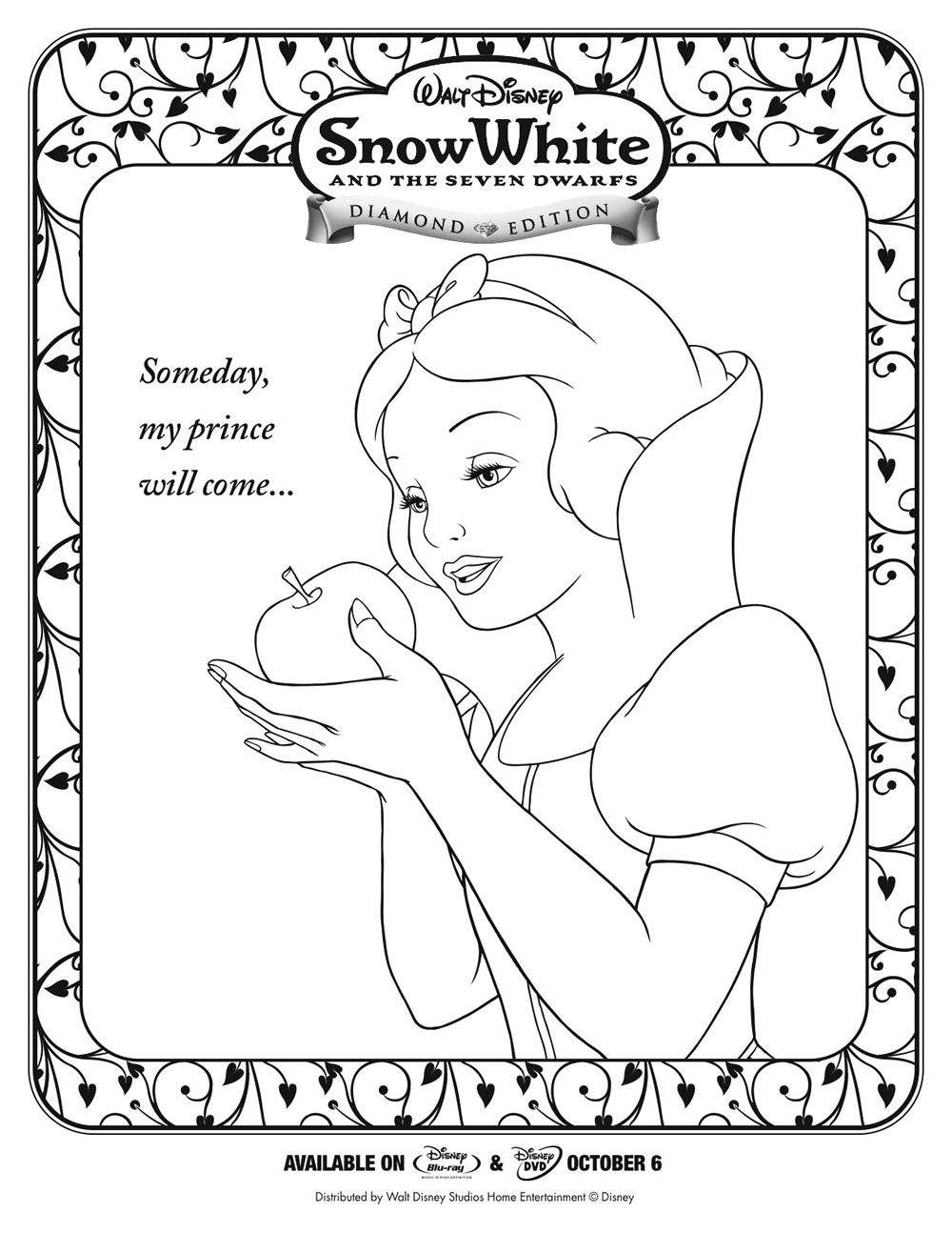 White word colouring pages for Free snow white coloring pages