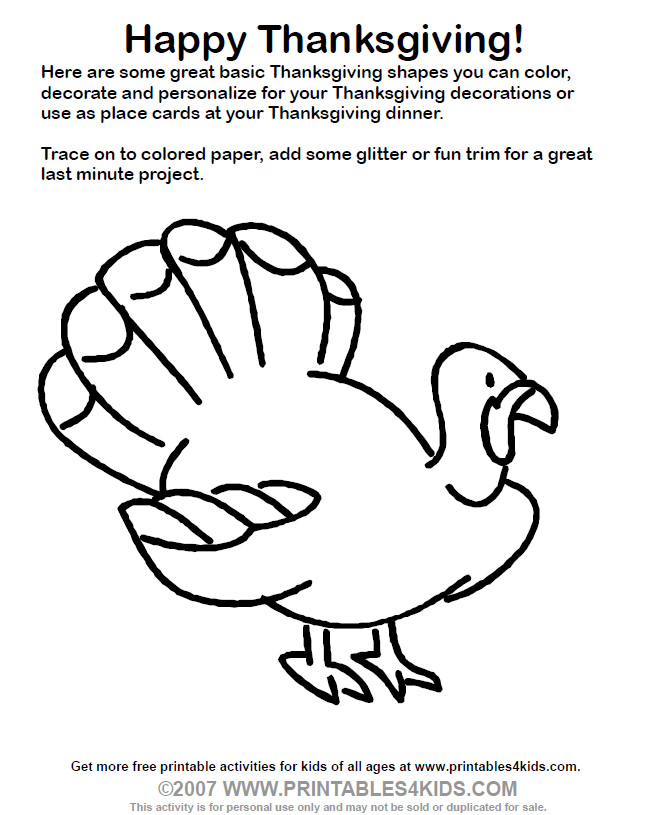 turky coloring pages 4 kids - photo#5