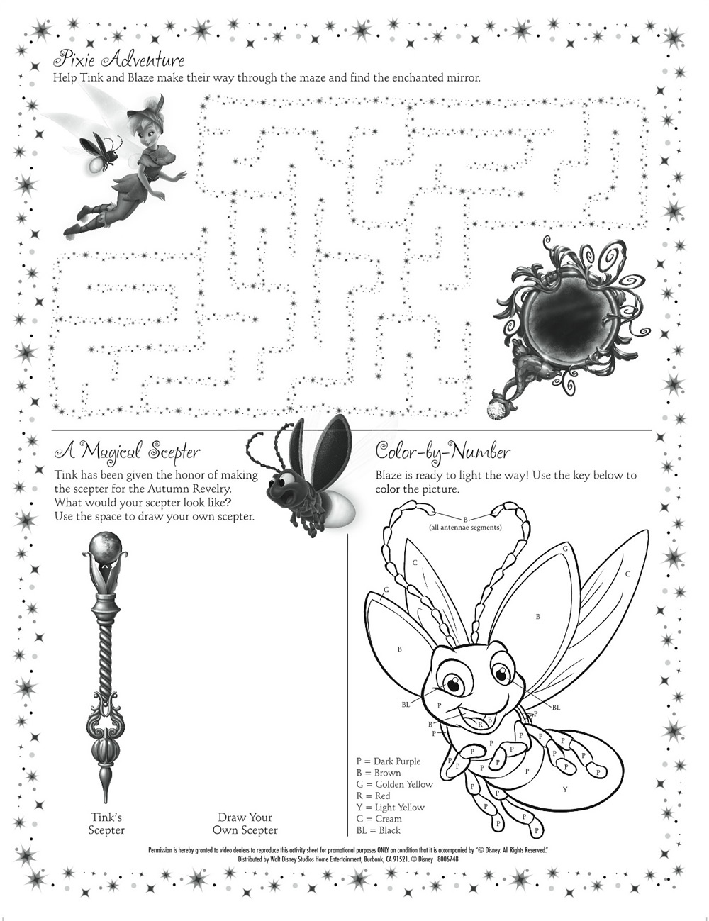 Tinkerbell Printable Activity Sheet : Printables for Kids – free ...