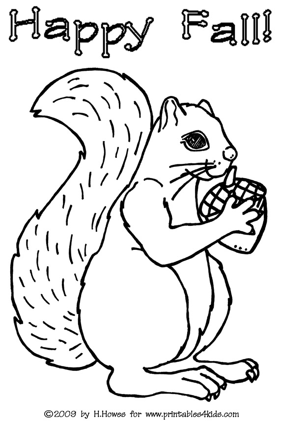 Fall squirrel coloring pages for Squirrel coloring pages free