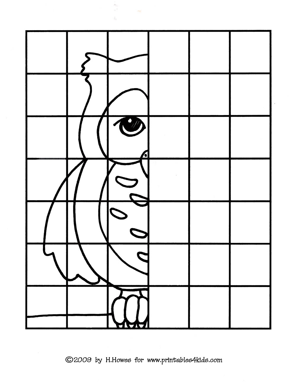 Symmetry+Pictures+Printables Owl Complete the Picture Drawing ...