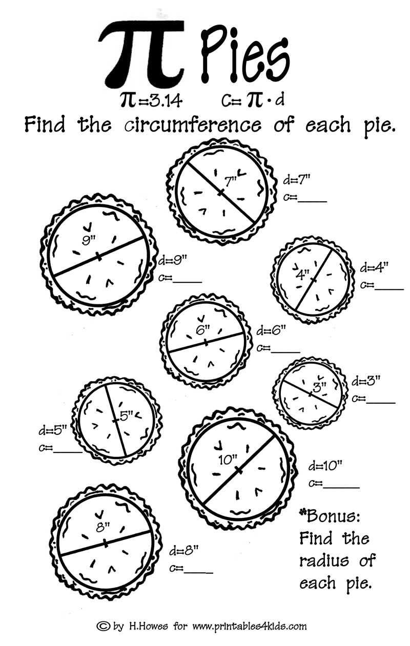 Pi Pies Math Worksheet : Printables for Kids – free word search ...
