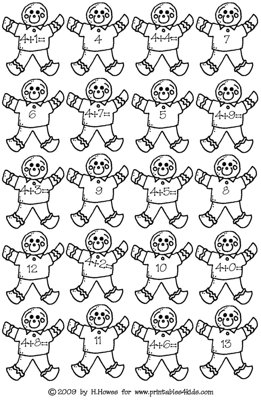 Gingerbread Math Addition Facts 4s : Printables for Kids – free word ...