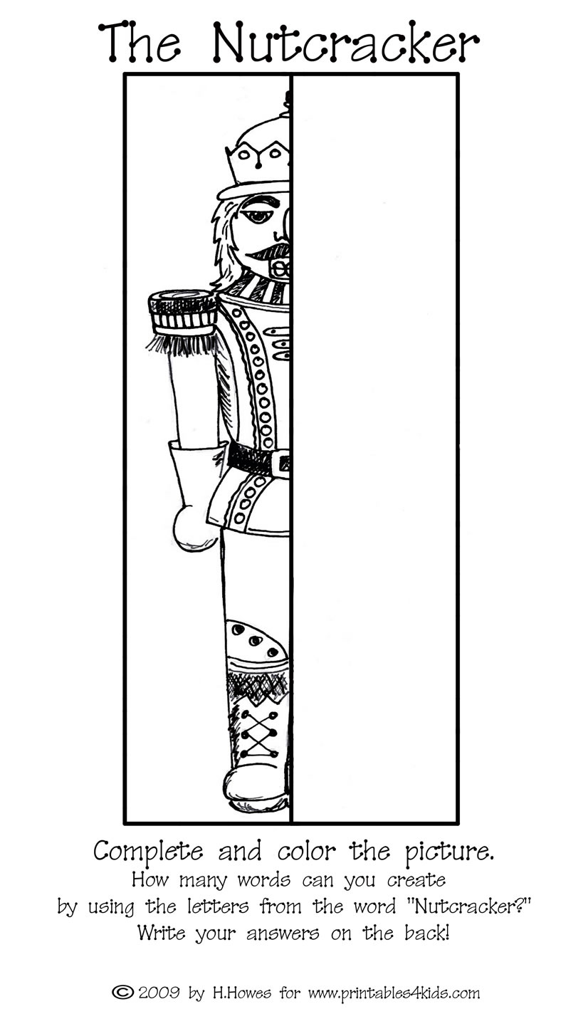complete the picture nutcracker printables for kids u2013 free word