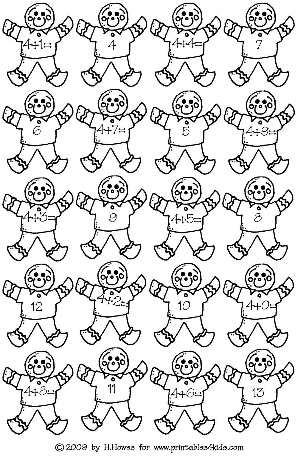 gingerbread math addition facts 4s   printables for kids