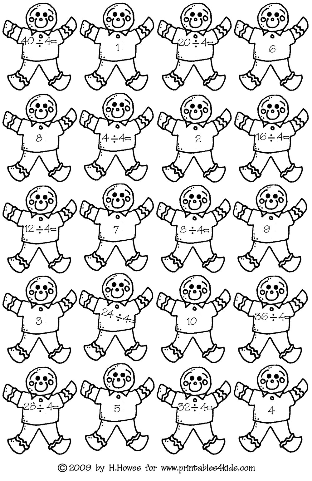 Gingerbread Math Facts Fours Division : Printables for Kids – free ...