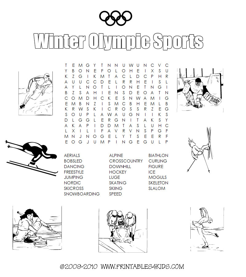 Winter Olympic Sports Printable Word Search Printables For Kids Free Puzzles Coloring Pages And Other Activities