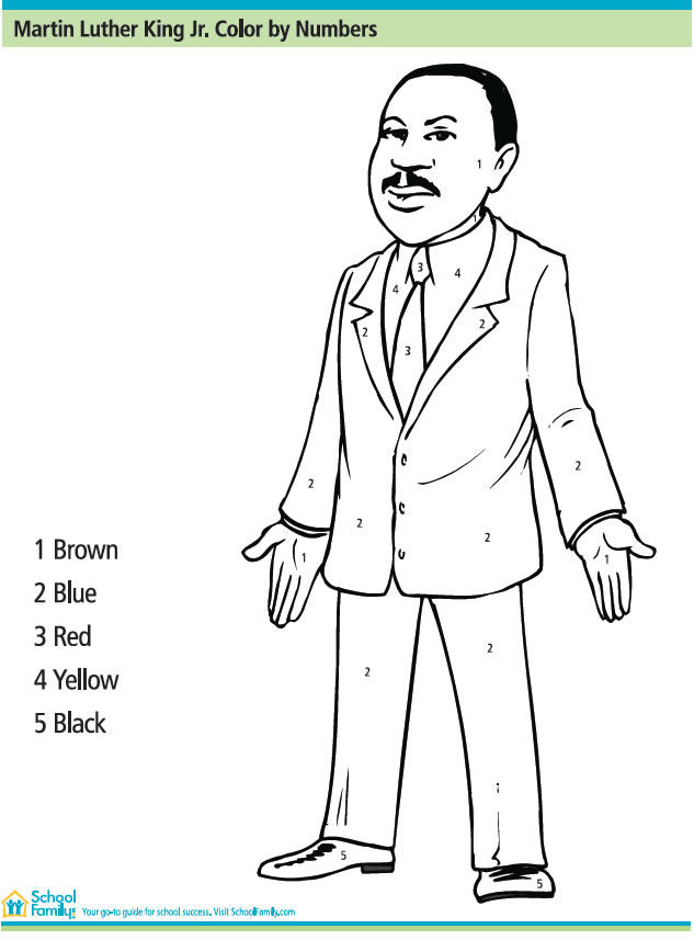 Martin Luther King Jr Color By Number : Printables for Kids – free ...