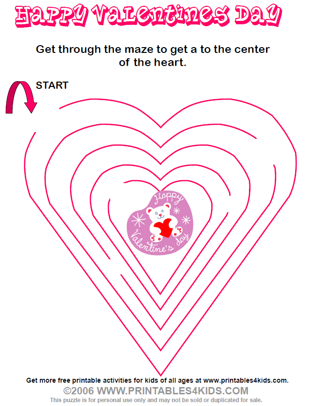 Valentine Maze : Printables for Kids – free word search puzzles ...