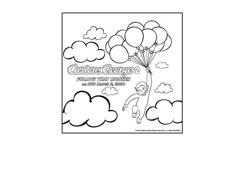 Curious George 2 Coloring Page Printables For Kids Free Word