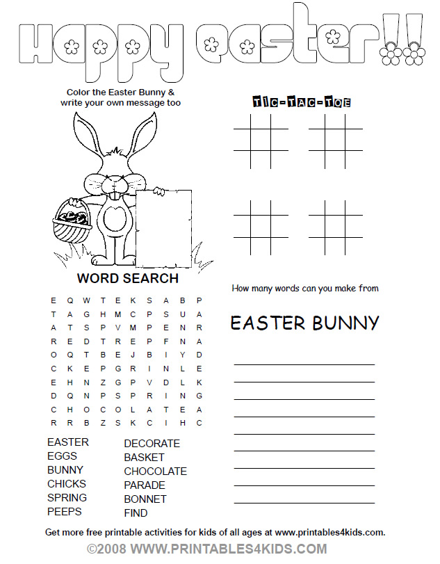 easter pencil fun printables for kids free word search puzzles coloring pages and other activities - Printable Fun Sheets